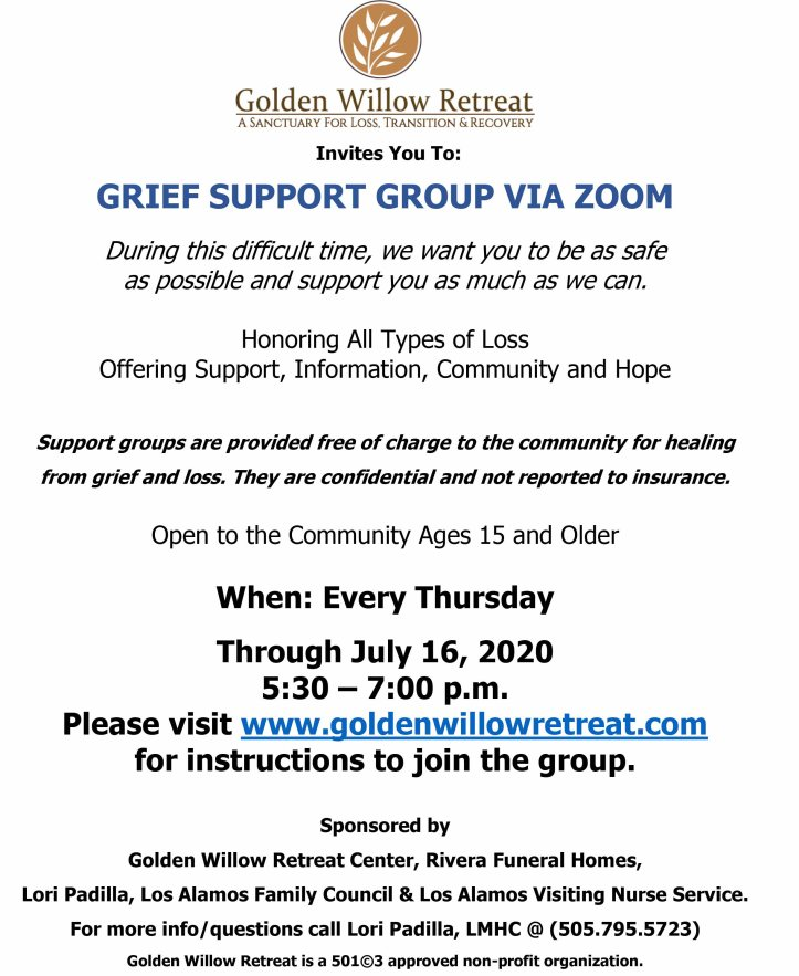 GWR ZOOM LA Grief Group Flyer Through 7.16.20